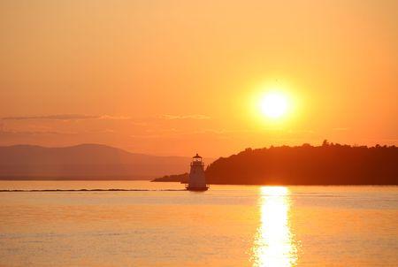 日没でシャン プレーン湖 写真素材