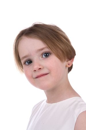 Pretty head and face shot of little girl with straight hair  Stock Photo