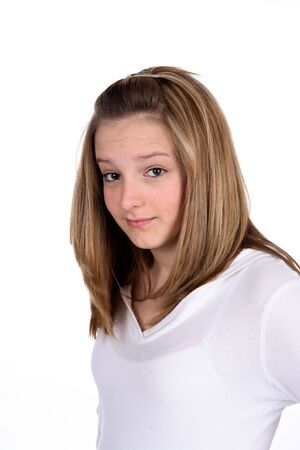 Pretty teenage girl with her eyebrows raised.