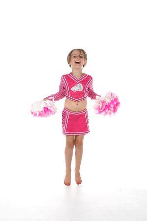 cheerleader meisje in het roze met spitse tenen
