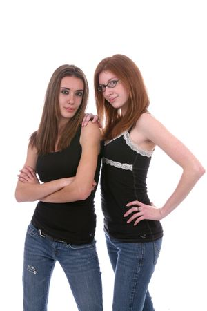 thin young women in black and denim jeans looking tough but beautiful