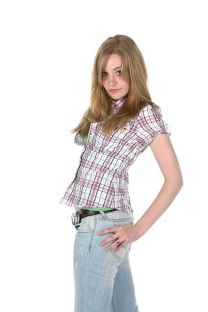 teenage girl standing with her hand on her hip Stock Photo - 3258938
