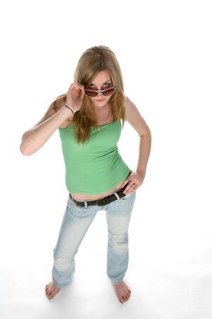 tough: beautiful teen with sunglasses from above