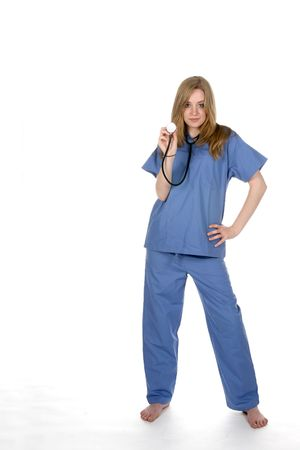 female doctor with stethoscope and her hand on hip Stock Photo - 3258931