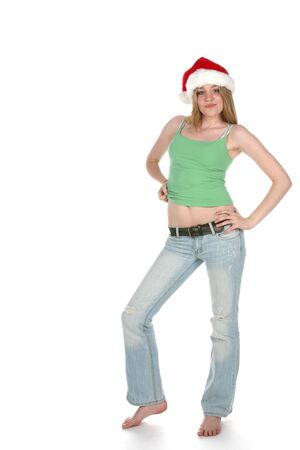 skimpy: young woman in skimpy shirt and santa hat