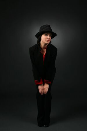 pantsuit: pretty teen in top hat and black pantsuit