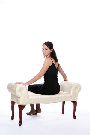 pretty woman on bench
