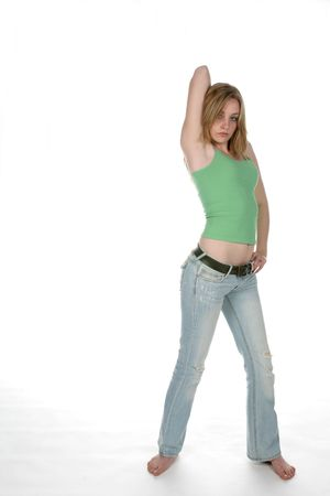back rub: sexy woman in low rise jeans Stock Photo