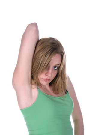 woman with seductive face in green