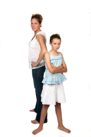 mother and daughter back to as if arguing
