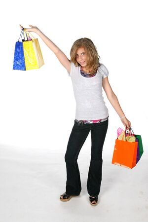 girl with lots of shopping bags Stock Photo