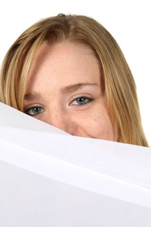 white pillow: woman peeking over white pillow