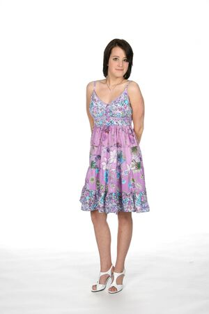 ruffle: pretty teen in purple and blue floral sundress