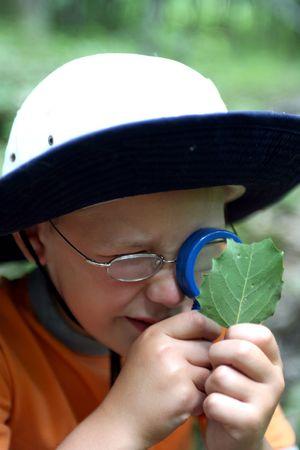 虫眼鏡を通して葉を勉強している若い少年 写真素材