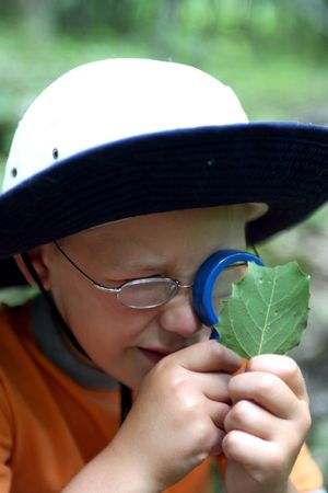 young boy studying leaf through magnifying glass