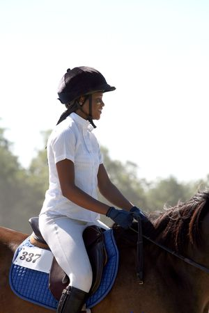teenage girl at horse competition