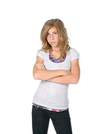 molesto: chica busca molesto con los brazos cruzados  Foto de archivo