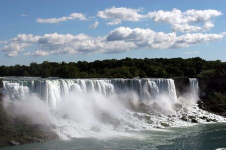 pretty american side of niagra falls with a blue sky Stock Photo