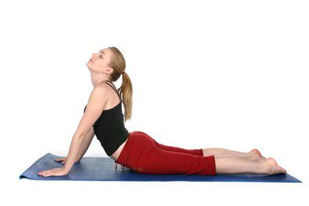 young woman demonstrating yoga cobra pose Stock Photo - 3676522