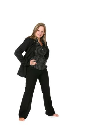 legs spread: professional woman in black with legs spread out