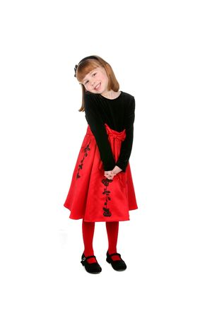pretty little girl standing in red dress and tights Stock Photo - 4000251