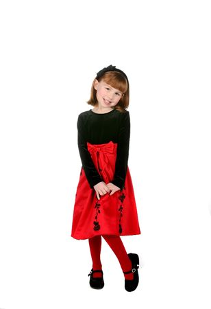 cute girl in red holiday dress with black hair bow Zdjęcie Seryjne - 4000250