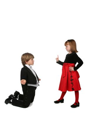 plead: young children in formal clothing  Stock Photo