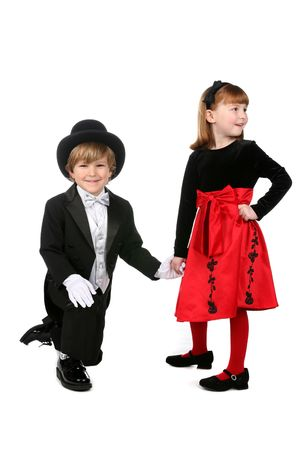 satirical: cute young children in formal clothes in satirical relationship pose