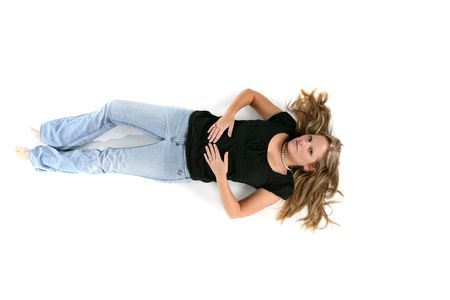 sexy woman lying on her back with her hair spread out Banque d'images