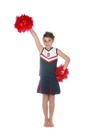 black cheerleader: young girl in cheerleader outfit holding pompoms