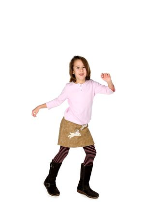 girl in tall boots and striped tights photo