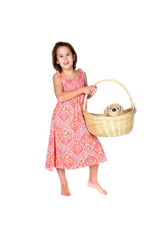 girl in pind dress holding stuffed puppy in a basket photo