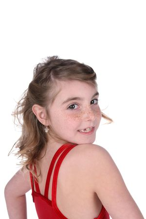 pretty young girl in red leotard and freckled face Zdjęcie Seryjne