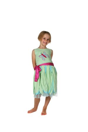 cute young girl in green and pink spring dress photo