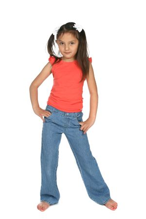 5 year old: cute girl with ponytails and hands on her hips