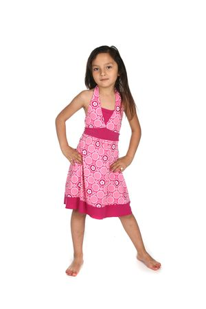 sundress: pretty mixed race girl in patterned pink dress