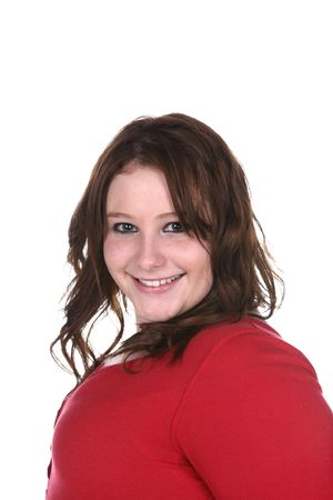 smiling girl with dark eyeliner and red sweater