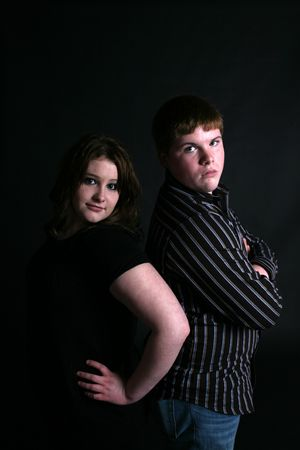 spat: attitude teenagers standing back to
