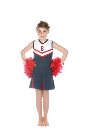 cute girl in cheerleader outfit with red pompoms