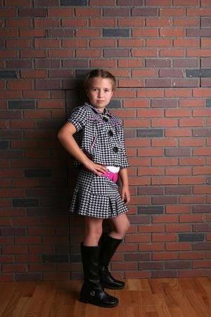 attitude girls: cute young girl with stylish outfit and attitude Stock Photo