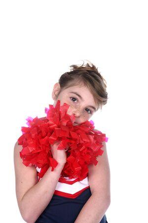 pompom: cute girl cheerleader con pompon e freckled faccia