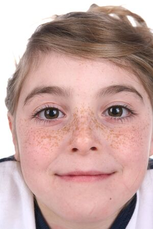 close up portrait of pretty girls freckled face