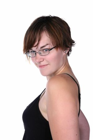cute young woman with short hair and glasses Stock Photo - 6285949