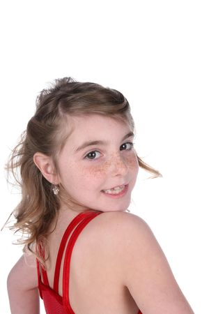 young girl with missing tooth looking over her shoulder Stock Photo - 6287356