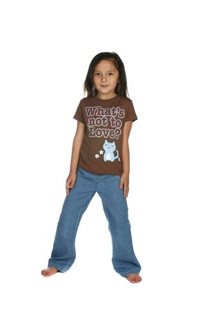 cute girl with long jeans and bare feet photo