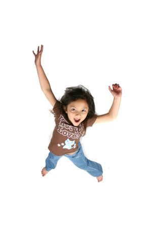 cute girl jumping for joy photo