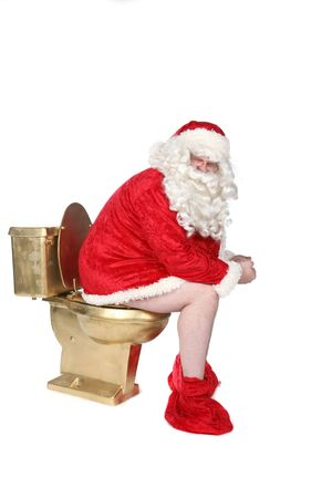 down beat: Santa sitting on a golden toilet with his pants down