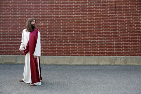 over shoulders: Jesus looking over his shoulder - room for your text or image
