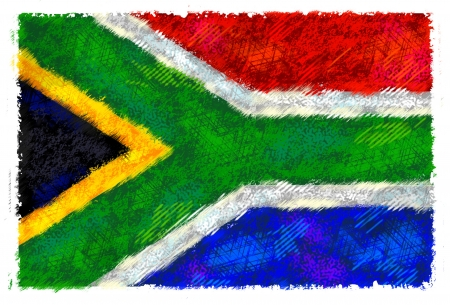 south african flag: Drawing of the flag of South Africa