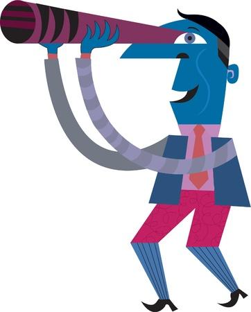 A man looking through a telescope